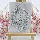 ECMQS Mushroom House & Ladybug DIY Transparente Briefmarke, Silikon Stempel Set, Clear Stamps,...