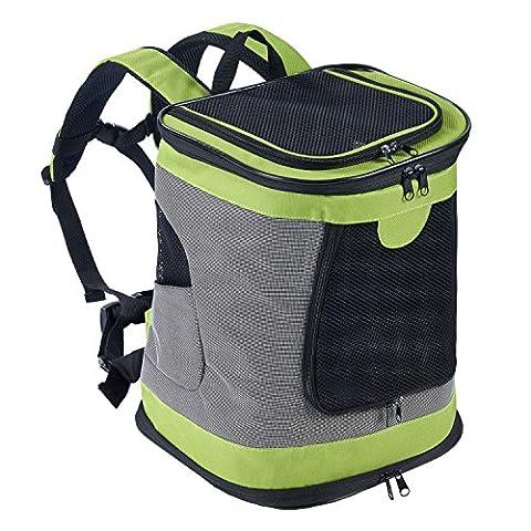 Faltbarer Katze-Hundrucksack-Fördermaschine für kampierendes kletterndes Wandern mit justierbarer gepolsterter Schulter u. Kasten u. Taillen-Bügel für Haustiere bis zu 12 Pfund-Grün