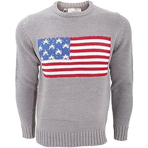 Brave Soul - Jersey de punto Modelo Kennedy diseño Bandera Americana hobmre caballero