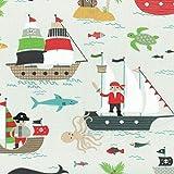 Textiles français Baumwollstoff | Piratenwelt Kinderstoff - Marineblau, Mittleres rot, Sandgelb & Beige, Taupe, Mittlegrau, Hellgrün und Weiß (Grundfarbe: Perlweiß) | 100% Baumwolle | Stoffbreite: 160 cm (pro Laufmeter)*