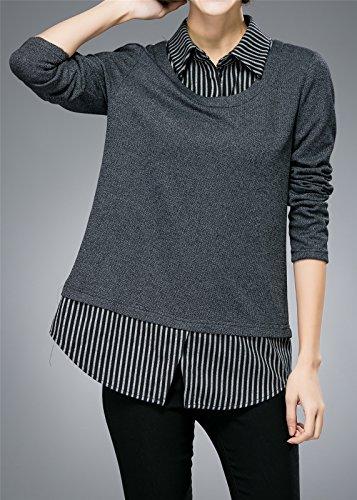 Luna et Margarita Übergröße Grau Langärmeliges Bluse mit Streifen Schein-Zwei-Kleidung Grau Kariert