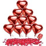Bememo 20 Pezzi Palloncini Cuore Rosso di Stagnole e 1000 Pezzi Coriandoli di Petali di Rosa Rossa di Seta con Fiocco Rosso per San Valentino Decorazione