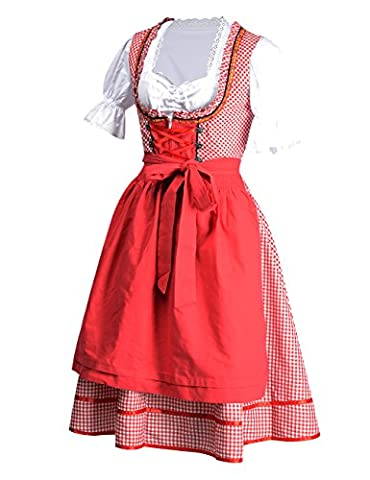 YesFashion Robe Set de Dirndl Sexy robe à Carreaux Manches courtes Bavarois Oktoberfest Tablier serveuse Wench Festival Costume pour Femme Rouge XL