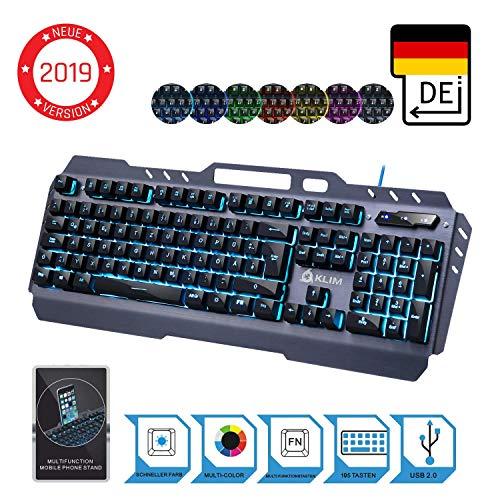 KLIM Lightning – NEU 2019 – Hybrid Halbmechanische Tastatur QWERTZ DEUTSCH + Sieben Metallstruktur – Gamer Gaming-Tastatur für Videospiele PC PS4 Xbox One
