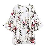 MRULIC Damen Florale Kimono Cardigan Boho Chiffon Sommerkleid Beach Cover up Leicht Tuch für die Sommermonate am Strand Oder See (2XL, X-Weiß)