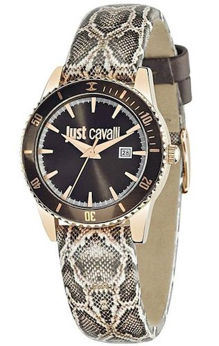 Wristwatch JUST CAVALLI Mod. JUST IN TIME Lady Quartz SS Case. Leather Strap. 31mm. WR 3ATM R7251202501