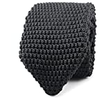 L&L® High Quality Men's Fashion Tie Knit Knitted Tie Slim Skinny Woven Pointed UK (Black)