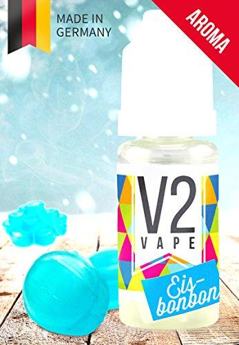V2 Vape Eisbonbon Konzentrat hochdosiertes Premium Lebensmittel-Aroma zum selber mischen von E-Liquid / Liquid-Base für E-Zigarette und E-Shisha 10ml 0mg nikotinfrei