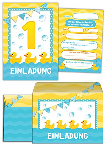 12 Einladungskarten incl. 12 Umschläge zum 1. Geburtstag Kinder erste Kindergeburtstag Ente Tiere