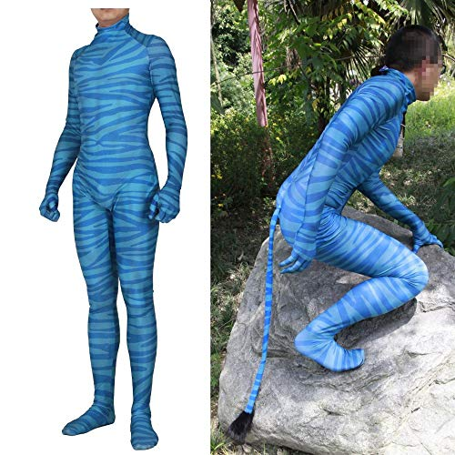 JUFENG Avatar Cosplay Kostüme - Lycra Zentai - Mens Adult/Kinder Boy Halloween Party Kostüm Full Set,B-Child/L