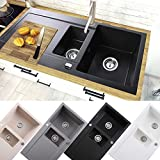 Granitspüle Küchenspüle Einbauspüle + Drehexcenter 60er | 100 x 50 cm | Farbe: Schwarz