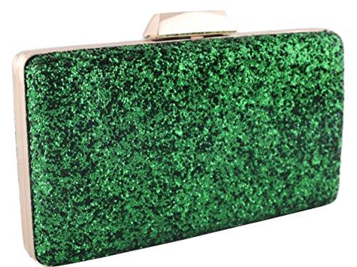bolso clutch de fiesta purpurinas verde