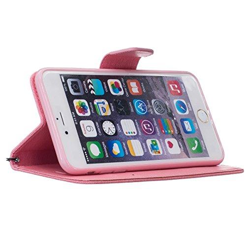 Custodia per Apple iPhone 6 Plus, ISAKEN iPhone 6S Plus Flip Cover, 5.5 inch Custodia con Strap, Elegante Sbalzato Embossed Design in Pelle Sintetica Ecopelle PU Case Cover Protettiva Flip Portafoglio Orso:rosa