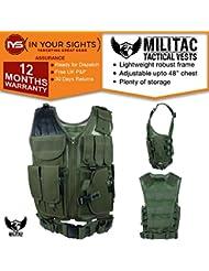 militac–Nailon Malla táctico chaleco con cinturón de pistola, verde