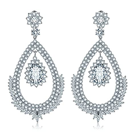 KnSam Boucles d'Oreilles Fantaisie Plaqué Or Blanc Percées Drop Earrings Teardrop Incrusté Cristal Rhinestone Blanc [Novelty Earrings]