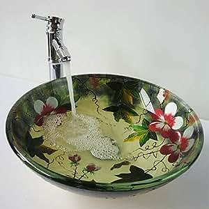 KLM Waschbeckenset für Badezimmer Zeitgenössisch Hartglas Hartglas