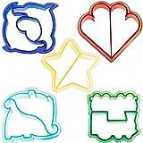 VonShef spaßige Kuchen, Plätzchen & Sandwich Schneidformen für Kinder - Satz aus 5: Dinosaurier, Delfine, Herz, Stern & Zug