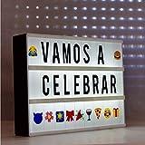 Caja de luz A4 Cine (A4 LED Cinema Lightbox) con 96 letras y numeros negros y 85 emojis colorido,...