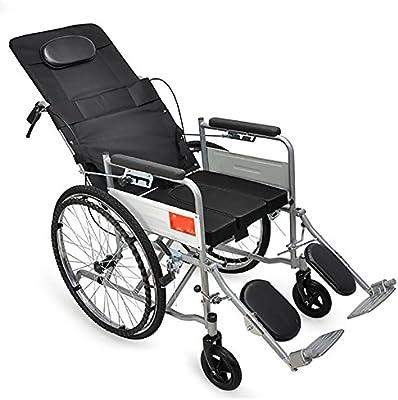 GUO Tubo de acero Silla Semi-reclinable con una silla de ruedas plegable portátil de ancianos grueso de cuatro ruedas