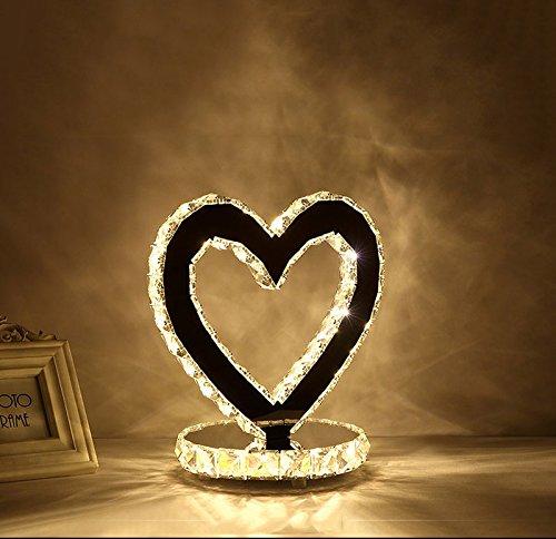 LED Kristall Herz Typ Lampe Schlafzimmer Nachttisch Zimmer Studie Edelstahl Lampen moderne minimalistische Mode Hochzeit Beleuchtung ( Color : Warm light ) (Nachttische Unter $100)