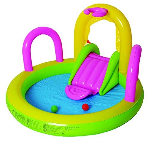 Jilong Sliding Spray Pool 132x147x84 cm Kinderpool Planschbecken Kinder Schwimmbecken mit Rutsche Wassersprüher Wasserspritze mit Gartenschlauch-Anschluß