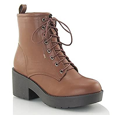 LADIES LACE UP WOMENS RETRO VINTAGE COMBAT GOTH PUNK ANKLE BOOTS SHOES SIZE 3 4 5 6 7 8 (UK 3 / EU 36 / US 5, BROWN SYNTHETIC LEATHER)