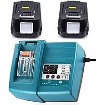 2x Batería y DC18RA Cargador para Makita 194558–0BL1415batería de iones de litio de 14,4V/1,5Ah Batería 194558–0BL1415
