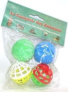 4 Mini Balles - Jouets pour Chat - 2 Mousse 2 Plastique + Grelots - Coloris variables