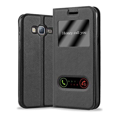 Cadorabo Hülle für Samsung Galaxy J3 / J3 DUOS 2016 (6) - Hülle in KOMETEN SCHWARZ - Handyhülle im Standfunktion & 2 Fenstern (View Design) - Case Cover Schutzhülle Etui Tasche Book Klapp Style