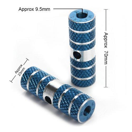 2 Reposapies Estriberas Aleación de Aluminio para Bicicleta Bici BMX Azul