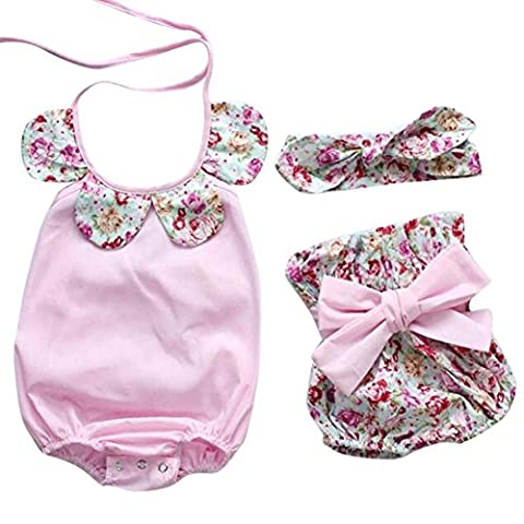 VENMO Newborn Infant Baby Girl Floral Romper Tops Bow Shorts Pants Headband Clothes Set (6-12 Months,