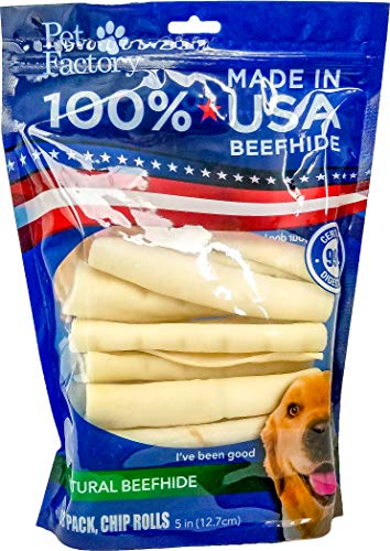 Pet Factory Rawhide Roll USA Dog Long Chew Lasting Remove Plaque Tartar 18 Pack 5 inch -