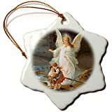 3dRose orn_4668_1 Guardian Angel Porcelain Snowflake Ornament, 3-Inch