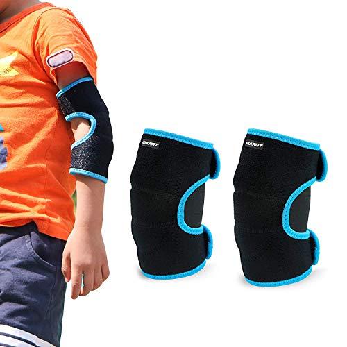 ONT Kinder Ellenbogenschützer Unterstützung Einstellbar Weiche Kinder Ellenbogenbandage Protector mit SBR Pad Guard Wraps für Radfahren Tanzen Volleyball Krabbeln Schwarz-blau