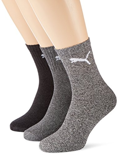 Puma Unisex Socken Short Crew 3er Pack, Grau (Anthracite/Grey), 43/46