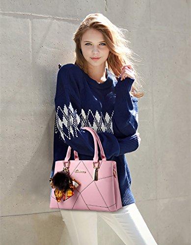 NICOLE&DORIS Le donne della borsa di modo di Crossbody della spalla della borsa di cuoio del Tote della cartella sacchetto di acquisto Faux Rosa Rosa