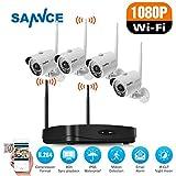 SANNCE Drahtloses Überwachungskamera Set, HD 4CH 1080P Funk Überwachungskamera Set NVR recorder mit 4x 1080P WLAN Wifi Überwachungskamera ohne Festplatte für Haus Innen Außen Sicherheit (Nachtsicht)