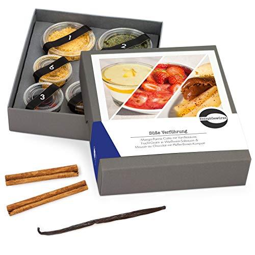 """Gewürze Geschenkset \""""Süße Verführung\"""" - Gewürzbox Geschenk inkl Rezept für 3 Desserts - Mango Panna Cotta, Frucht Gratin in Weißwein, Mousse au Chocolat mit Pfeffer Birnen Kompott -- mit BIO Gewürzen"""