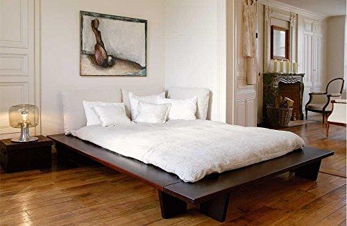 Futonbett KEDIA I - multifunktionales Designerbett - Buche massiv auf Nussbaum gebeizt, Größe:200x220cm