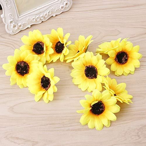 Gefälschte Sonnenblume Kopf Hochzeit Blumenarrangement für Home Decor Party Floral Mittelstücke Dekoration Gelb ()