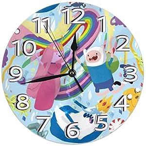 Amua Wanduhr Wallpaper Adventure Time Charaktere Winter Wanduhr Silent Non Ticking 10-Zoll-Qualität Quarz Batteriebetriebenes