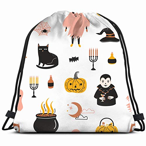 een Scary Spooky Magic Backdrop Holidays Drawstring Backpack Gym Sack Lightweight Bag Water Resistant Gym Backpack for Women&Men for Sports,Travelling,Hiking,Camping,Shopping Yoga ()