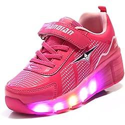 TeraSeven - Zapatillas deportivas infantiles, con luz LED intermitente y rueda, rosa (Rose), 36