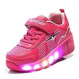 TeraSeven - Zapatillas deportivas infantiles, con luz LED intermitente y rueda, rosa (Rose), 30