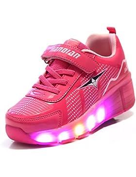 TeraSeven Sneakers Unisex Niño Niña Niño Zapatos con ruedas Skateboard Heelys Zapatillas Luminosas LED–Zapatos...