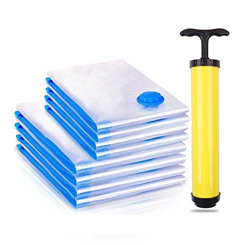 OCMCMO Reise Vakuumbeutel, Aufbewahrungsbeutel Vakuumbeutel Anti-Zerreißen Vakuumtüten Staubsauger Transparent Wiederverwendbar für Reise Kleidung Decken und Bettwäsche - 6 Stück mit pumpe
