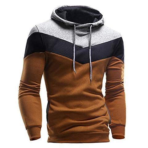 Kangrunmy Hommes Hoodie Sweat-shirt à capuche manches longues Tops épissage Stripe Jacket Coat (M, Café)