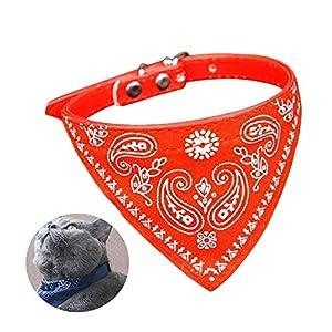 Womdee réglable Pet Bandana, Classic Design Collier pour Chat Mode d'impression Écharpe Triangle Foulard pour Chien Mini Chat, Rouge
