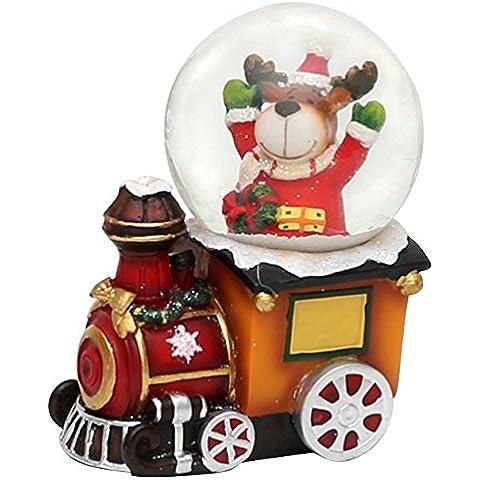 Bella palla di vetro con base a forma di locomotiva e renna come conduttore, circa 4,5 x 8 cm / Ø 4,5 cm