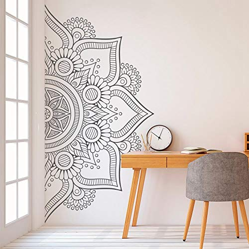 Halbe Mandala Wandtattoo für Schlafzimmer Modernes Design Muster Vinyl Kunst Selbstklebende Wandaufkleber Home Room Decor j2 112x56 cm -